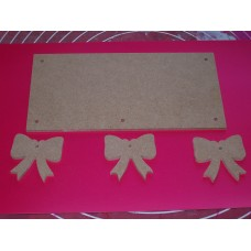 4mm Thick MDF Plaque With Bows 200mm wide