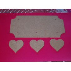 4mm Thick MDF Plaque Cut out Corners  With Hearts 200mm wide