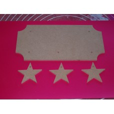 4mm Thick MDF Plaque Cut out Corners  With Stars 200mm wide