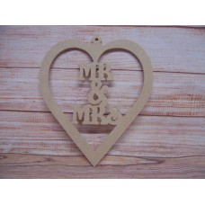 4mm MDF MR & MRS hanging  heart