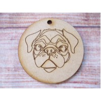Pug Head Bauble 65mm