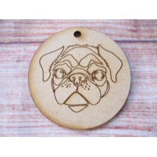 Pug Head Bauble 65mm