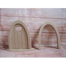 4mm MDF  Grooved Fairy Door with Heart and base Pk of 4