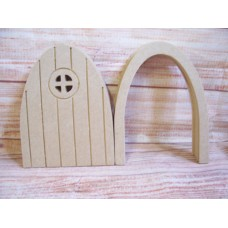 4mm MDF Grooved Fairy door with round window pack of 4