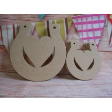 4mm MDF Horse shoe with heart 100mm