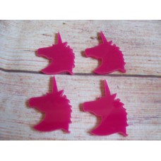 Pink Acrylic Unicorn Head 50mm Pack 10