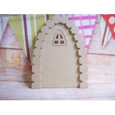 Arched window fairy door with flower arch