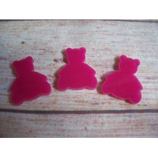 Pink Acrylic Teddy Bear 30mm Pack 10