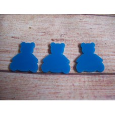 Blue Acrylic Teddy Bear 30mm Pack of 10