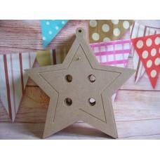 4mm MDF Button Star shape