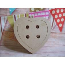 4mm MDF Button heart shape