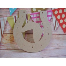 4mm Thick MDF Horse shoe with horse head