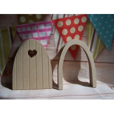4mm MDF Grooved fairy door with heart window pack of 4