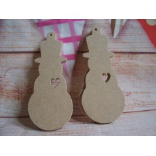4mm  MDF Snowman with heart cut out pack of 5