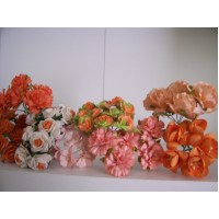 50 Mixed Orange paper Flowers