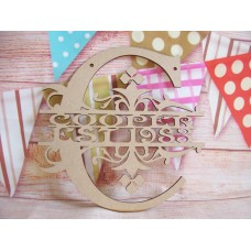 Monogram letter Name and Date 200mm