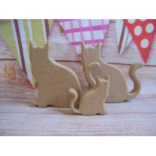 18mm MDF Sitting Cat 100mm