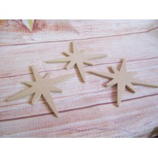 4mm MDF Rounded End Christmas Star Pack of 5 200mm