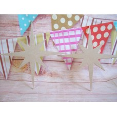 4mm MDF Christmas star 150mm high with hanging hole QTY 10