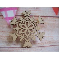 Laser cut Butterfly Snowflake Pack of 5