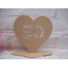 4mm MDF Standing Heart age 50