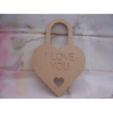 6mm thick MDF I LOVE YOU Padlock