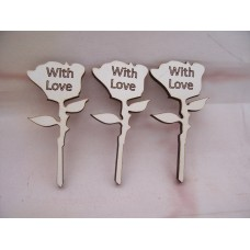 White MDF Roses With Love pack of 5