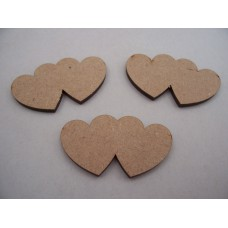 MDF Double Heart 50mm Pack of 5