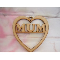 3mm MDF Mum Heart 125mm