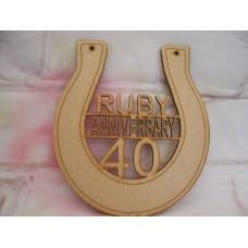 Ruby Anniversary Horseshoe