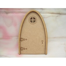 3mm MDF Round Window fairy Door 130mm