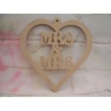 4mm MDF MRS & MRS hanging heart
