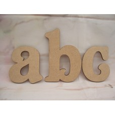 An MDF  Letter in  Belshaw font Starts at 50 mm 4mm thick lower case