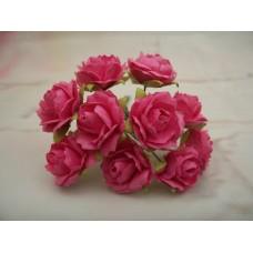 Fushia Pink Mulberry paper rose PK 10