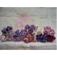 50 Mixed Purple Paper flowers
