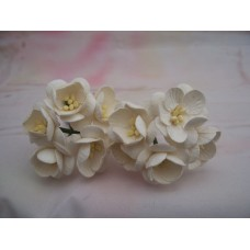 White Cherry Blossom Paper Flowers PK5