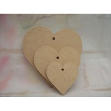 4mm Thick MDF Heart Starts at 50mm with one hole.