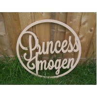 6mm MDF Princess Hoop 58cm Personalised