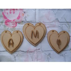 Double Bunting Heart with Letter 125mm