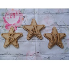 Double Star Bunting With Letter 125mm