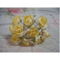 Yellow and White Mulberry Paper Roses 3cm