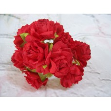 Red Mulberry Paper Roses 3cm PK10