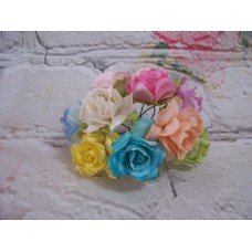 Pastel Paper Roses 3cm Pk10