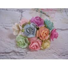Pastel Paper Roses 2cm PK of 10