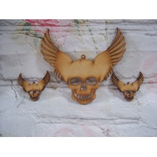 3mm MDF Skull with wings starts at 50mm