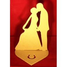 4mm Thick MDF Standing Bride & Groom On Heart Base 100mm wide