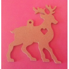 4mm MDF Reindeer with cut out heart starts at 100mm