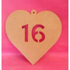 4mm MDF Hanging heart age 16