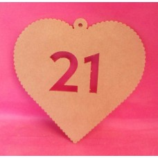 4mm MDF Hanging heart age 21