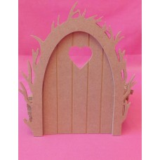 4mm Thick MDF Vine Arch Fairy door with Heart window